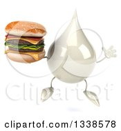 Clipart Of A 3d Milk Lotion Shampoo Or Liquid Soap Drop Character Jumping And Holding A Double Cheeseburger Royalty Free Illustration
