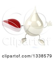 Clipart Of A 3d Milk Lotion Shampoo Or Liquid Soap Drop Character Jumping And Holding A Beef Steak Royalty Free Illustration by Julos