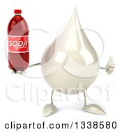 Clipart Of A 3d Milk Lotion Shampoo Or Liquid Soap Drop Character Giving A Thumb Up And Holding A Soda Bottle Royalty Free Illustration by Julos