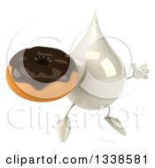 Clipart Of A 3d Milk Lotion Shampoo Or Liquid Soap Drop Character Holding A Chocolate Glazed Donut Facing Slightly Right And Jumping Royalty Free Illustration by Julos