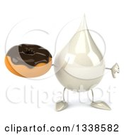 Clipart Of A 3d Milk Lotion Shampoo Or Liquid Soap Drop Character Holding A Chocolate Glazed Donut And Giving A Thumb Down Royalty Free Illustration by Julos