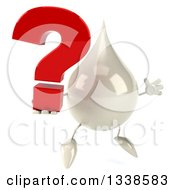 Clipart Of A 3d Milk Lotion Shampoo Or Liquid Soap Drop Character Facing Slightly Right And Jumping With A Question Mark Royalty Free Illustration by Julos