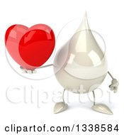 Clipart Of A 3d Milk Lotion Shampoo Or Liquid Soap Drop Character Holding A Red Love Heart Royalty Free Illustration by Julos