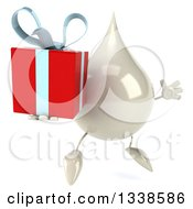 Clipart Of A 3d Milk Lotion Shampoo Or Liquid Soap Drop Character Facing Slightly Right Jumping And Holding A Gift Royalty Free Illustration