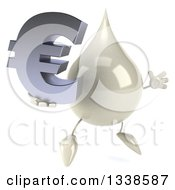 Clipart Of A 3d Milk Lotion Shampoo Or Liquid Soap Drop Character Facing Slightly Right Jumping And Holding A Euro Currency Symbol Royalty Free Illustration by Julos
