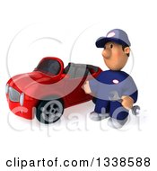 Clipart Of A 3d Short White Male Auto Mechanic Holding A Wrench And Presenting A Red Convertible Car 3 Royalty Free Illustration
