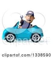 Clipart Of A 3d Short White Male Auto Mechanic Holding A Wrench And Driving A Blue Convertible Car 2 Royalty Free Illustration