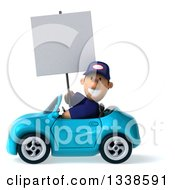 Clipart Of A 3d Short White Male Auto Mechanic Holding A Blank Sign And Driving A Blue Convertible Car 2 Royalty Free Illustration