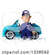 Clipart Of A 3d Sad Short White Male Auto Mechanic Holding A Wrench And Standing By A Blue Convertible Car Royalty Free Illustration