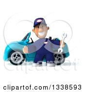 Clipart Of A 3d Short White Male Auto Mechanic Holding A Wrench And Welcoming By A Blue Convertible Car Royalty Free Illustration