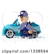 Clipart Of A 3d Short White Male Auto Mechanic Holding A Wrench And Pouting By A Blue Convertible Car Royalty Free Illustration