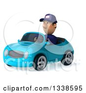 Clipart Of A 3d Short White Male Auto Mechanic Driving A Blue Convertible Car 3 Royalty Free Illustration