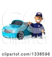 Clipart Of A 3d Short White Male Auto Mechanic Holding A Wrench And Waving By A Blue Convertible Car Royalty Free Illustration