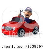 Clipart Of A 3d Short White Male Auto Mechanic Holding A Wrench And Driving A Red Convertible Car 3 Royalty Free Illustration