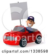 Clipart Of A 3d Short White Male Auto Mechanic Holding A Blank Sign And Driving A Red Convertible Car 3 Royalty Free Illustration