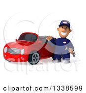 Clipart Of A 3d Short White Male Auto Mechanic Holding A Wrench And Waving By A Red Convertible Car Royalty Free Illustration