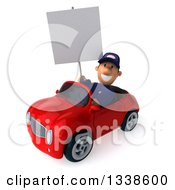 Clipart Of A 3d Short White Male Auto Mechanic Holding A Blank Sign And Driving A Red Convertible Car 4 Royalty Free Illustration