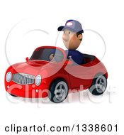 Clipart Of A 3d Short White Male Auto Mechanic Driving A Red Convertible Car 2 Royalty Free Illustration