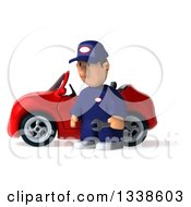 Clipart Of A 3d Short White Male Auto Mechanic Holding A Wrench And Pouting By A Red Convertible Car Royalty Free Illustration