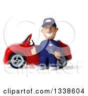 Clipart Of A 3d Short White Male Auto Mechanic Holding A Wrench And Presenting A Red Convertible Car 2 Royalty Free Illustration