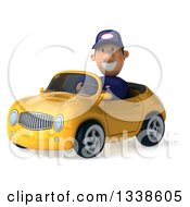 Clipart Of A 3d Short White Male Auto Mechanic Driving A Yellow Convertible Car Royalty Free Illustration