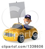 Clipart Of A 3d Short White Male Auto Mechanic Holding A Blank Sign And Driving A Yellow Convertible Car 2 Royalty Free Illustration