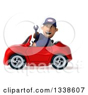 Clipart Of A 3d Short White Male Auto Mechanic Holding A Wrench And Driving A Red Convertible Car 2 Royalty Free Illustration
