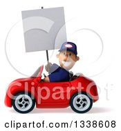 Clipart Of A 3d Short White Male Auto Mechanic Holding A Blank Sign And Driving A Red Convertible Car 2 Royalty Free Illustration