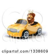 Clipart Of A 3d Male Lion King Driving A Yellow Convertible Car 3 Royalty Free Illustration by Julos