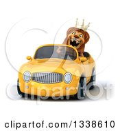 Clipart Of A 3d Male Lion King Roaring And Driving A Yellow Convertible Car Royalty Free Illustration by Julos