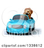 Clipart Of A 3d Excited Male Lion Driving A Blue Convertible Car Royalty Free Illustration by Julos
