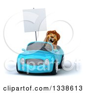 Clipart Of A 3d Male Lion Holding A Blank Sign Roaring And Driving A Blue Convertible Car Royalty Free Illustration by Julos