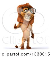Clipart Of A 3d Bespectacled Male Lion Giving A Thumb Up Royalty Free Illustration