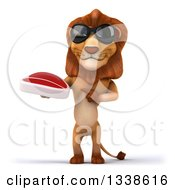 Clipart Of A 3d Male Lion Wearing Sunglasses Holding And Pointing To A Beef Steak Royalty Free Illustration