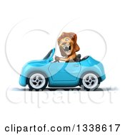 Clipart Of A 3d Excited Male Lion Driving A Blue Convertible Car 2 Royalty Free Illustration by Julos