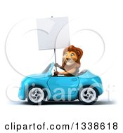 Clipart Of A 3d Male Lion Holding A Blank Sign And Driving A Blue Convertible Car Royalty Free Illustration by Julos