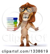 Clipart Of A 3d Bespectacled Male Lion Shrugging And Holding A Stack Of Books Royalty Free Illustration