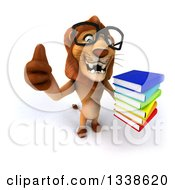 Clipart Of A 3d Bespectacled Male Lion Holding Up A Thumb And A Stack Of Books Royalty Free Illustration