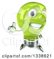 Clipart Of A 3d Happy Green Light Bulb Character Holding Up A Thumb Royalty Free Illustration