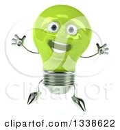 Clipart Of A 3d Happy Green Light Bulb Character Jumping Royalty Free Illustration