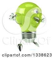 Clipart Of A 3d Happy Green Light Bulb Character Jumping Facing Slightly Right Royalty Free Illustration