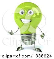 Clipart Of A 3d Happy Green Light Bulb Character Presenting Royalty Free Illustration
