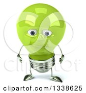 Clipart Of A 3d Pouting Green Light Bulb Character Royalty Free Illustration