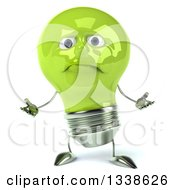 Clipart Of A 3d Sad Green Light Bulb Character Shrugging Royalty Free Illustration
