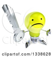 Clipart Of A 3d Unhappy Yellow Light Bulb Character Holding Up A Thumb Down And Key Royalty Free Illustration