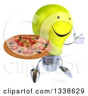 Clipart Of A 3d Happy Yellow Light Bulb Character Facing Slightly Right Jumping And Holding A Pizza Royalty Free Illustration
