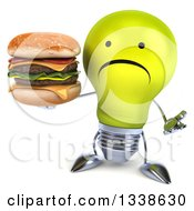 Clipart Of A 3d Unhappy Yellow Light Bulb Character Shrugging And Holding A Double Cheeseburger Royalty Free Illustration