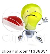 Clipart Of A 3d Unhappy Yellow Light Bulb Character Jumping And Holding A Beef Steak Royalty Free Illustration