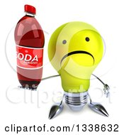 Clipart Of A 3d Unhappy Yellow Light Bulb Character Holding Up A Soda Bottle Royalty Free Illustration