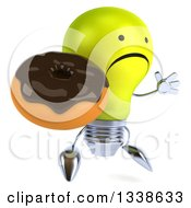 Clipart Of A 3d Unhappy Yellow Light Bulb Character Facing Slightly Right Jumping And Holding A Chocolate Glazed Donut Royalty Free Illustration